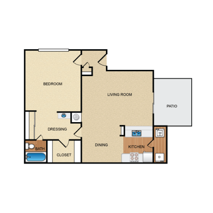 775 sq. ft. A4 floor plan