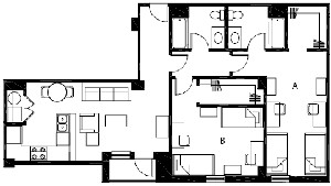 1,102 sq. ft. B8 floor plan