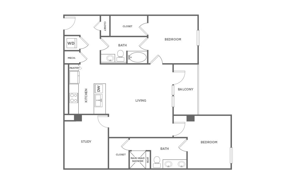 1,425 sq. ft. EAL1.1 floor plan