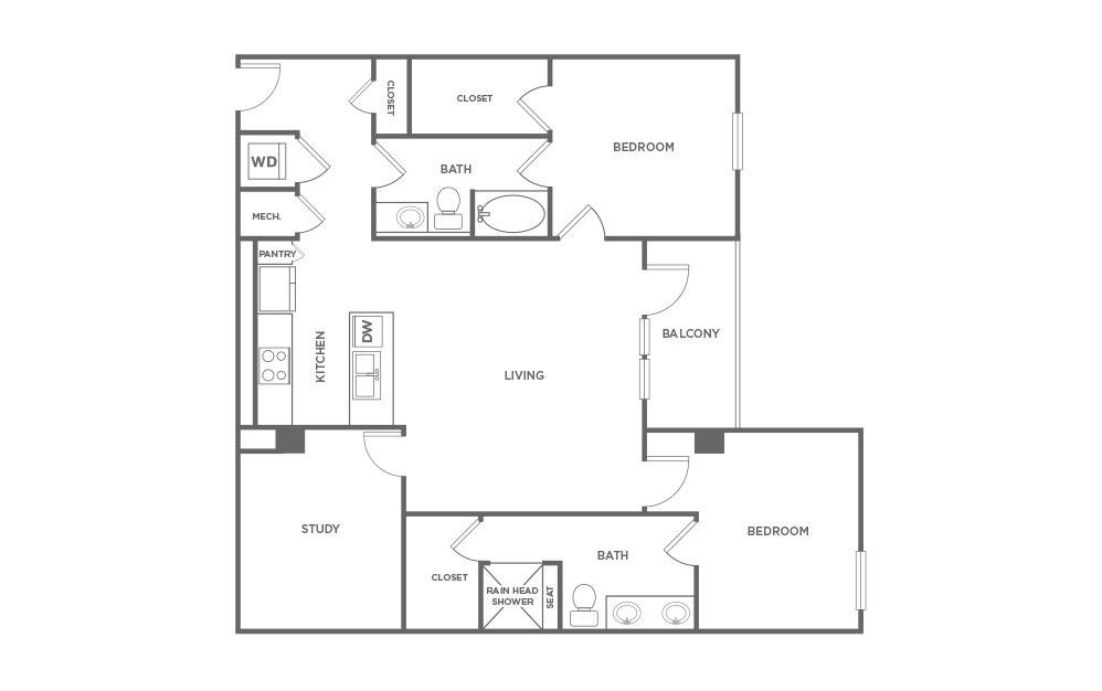 1,425 sq. ft. EAL1.1 floor plan