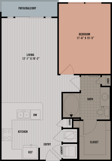 758 sq. ft. A6 floor plan
