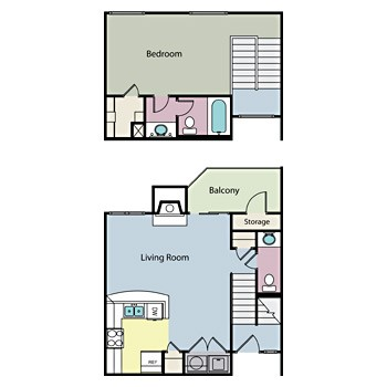 792 sq. ft. BLUEBONNET floor plan