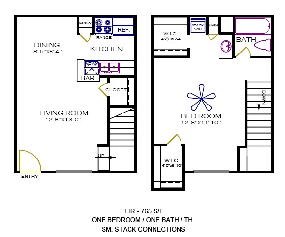 765 sq. ft. Fir floor plan