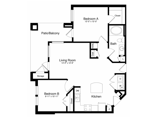 911 sq. ft. A3 floor plan