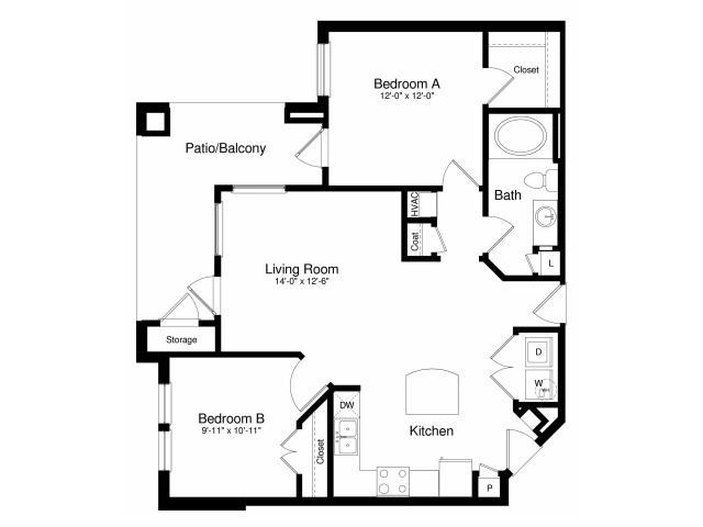911 sq. ft. A3 floor plan