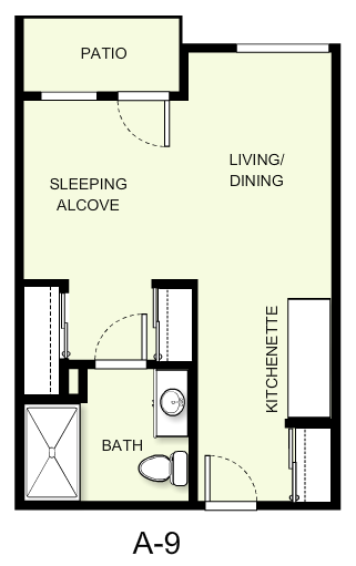 404 sq. ft. A9 floor plan