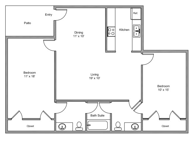 1,051 sq. ft. F floor plan