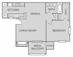 683 sq. ft. A1 floor plan