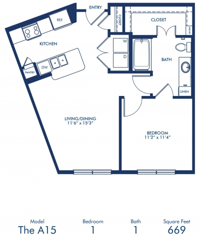 669 sq. ft. A15 floor plan