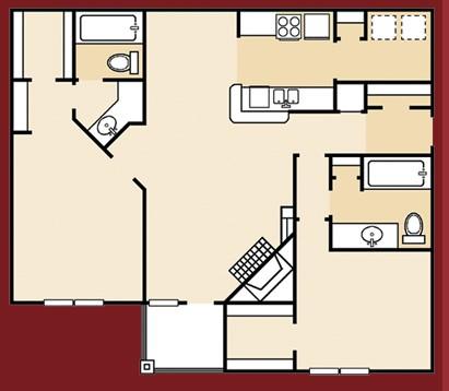 1,036 sq. ft. B1PA floor plan
