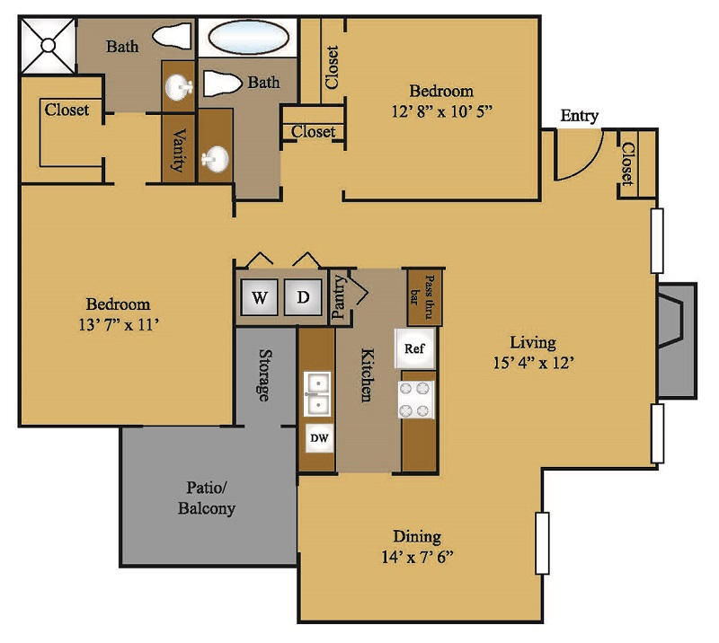 913 sq. ft. B1 floor plan