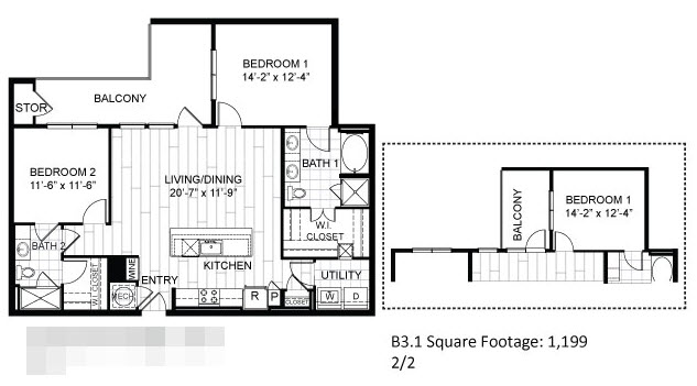 1,199 sq. ft. B3.1 floor plan