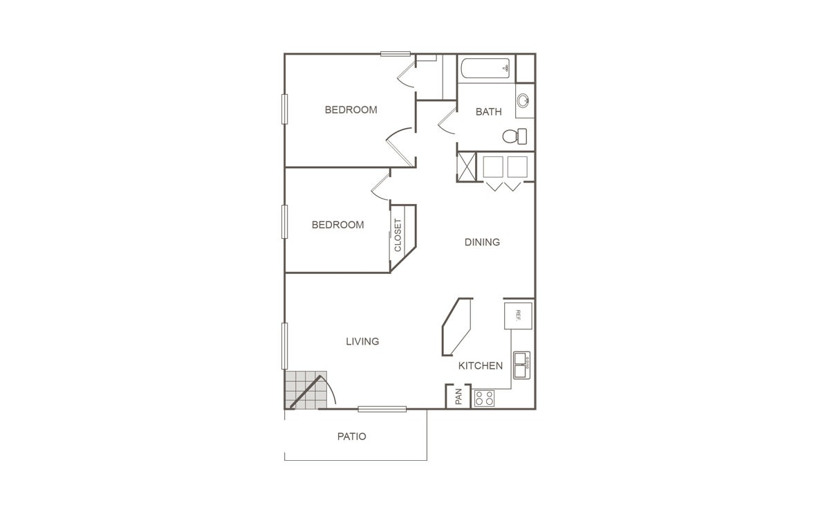 816 sq. ft. 50% floor plan