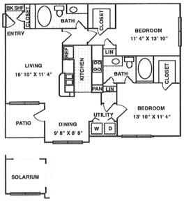 1,382 sq. ft. B4 floor plan