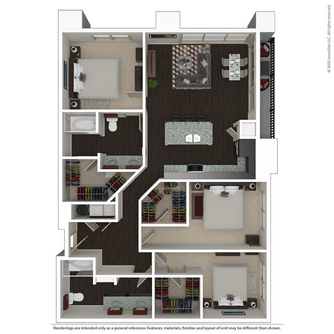1,422 sq. ft. C2 floor plan