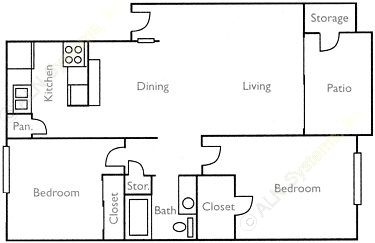 850 sq. ft. Live Oak floor plan