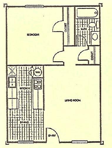 599 sq. ft. Maple floor plan