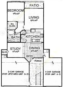 1,015 sq. ft. A1 floor plan