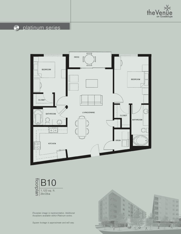 1,123 sq. ft. B10 floor plan