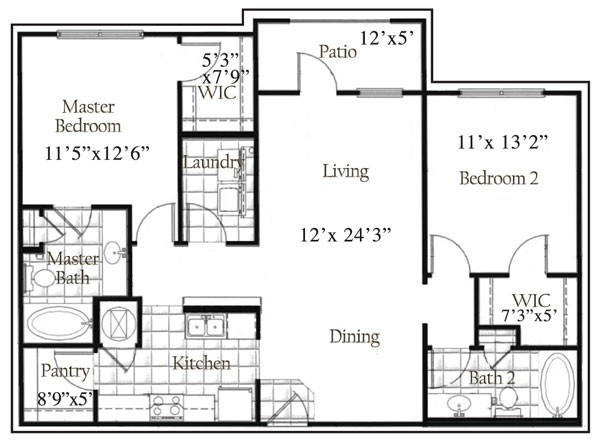 1,162 sq. ft. floor plan