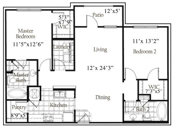 1,162 sq. ft. floor plan