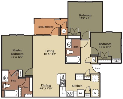 1,120 sq. ft. C1/60% floor plan