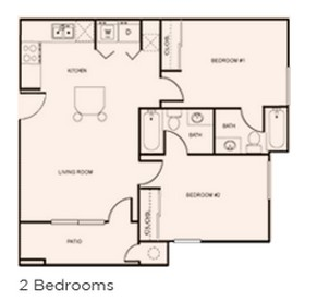 766 sq. ft. 2x2 floor plan