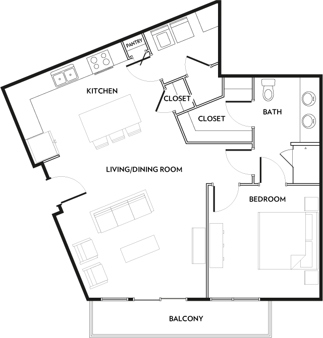 859 sq. ft. A9 floor plan