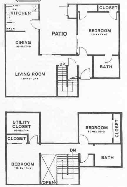 1,345 sq. ft. floor plan