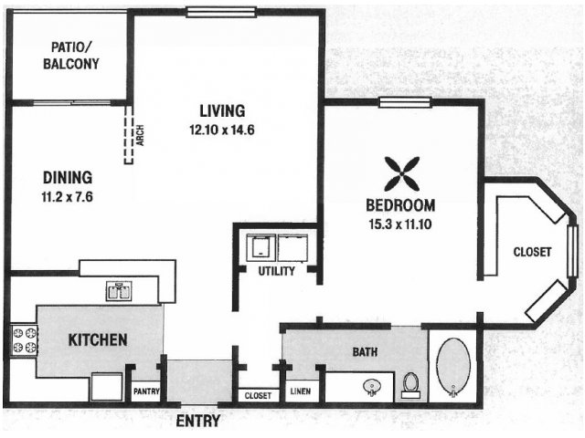 907 sq. ft. A3 floor plan