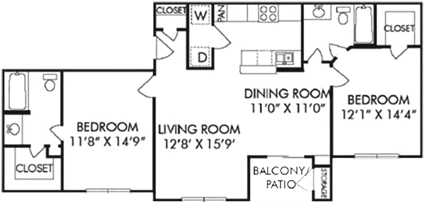 1,067 sq. ft. D floor plan