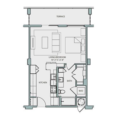 680 sq. ft. S1.1 floor plan