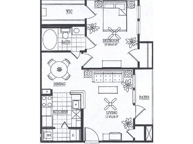 747 sq. ft. A3 floor plan