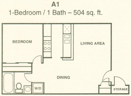 504 sq. ft. A1 floor plan