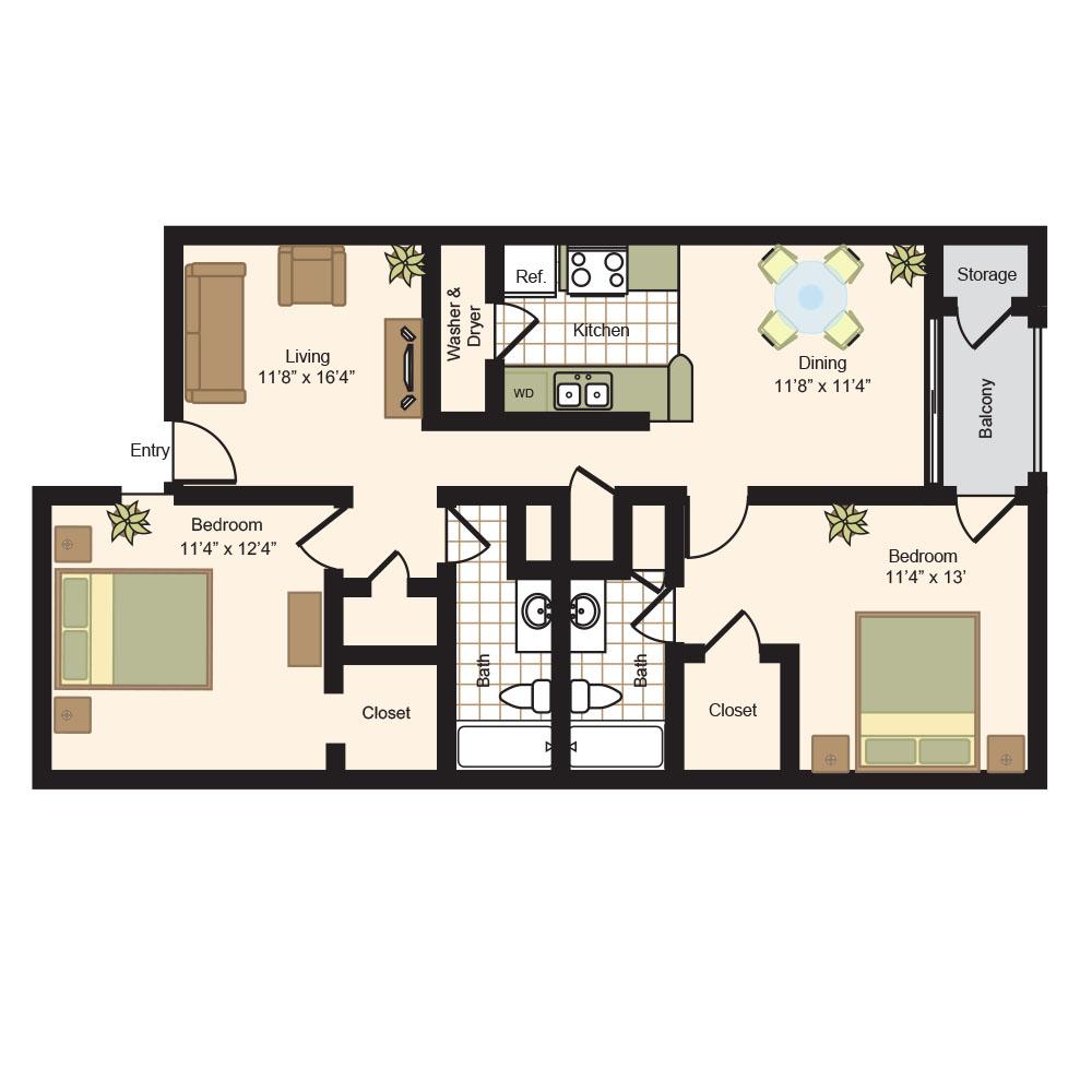 1,068 sq. ft. D floor plan