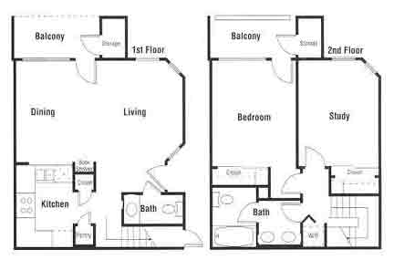 891 sq. ft. A12 floor plan