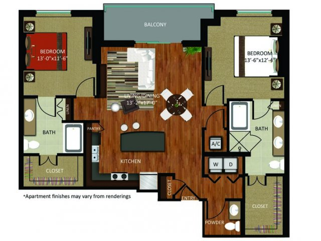 1,349 sq. ft. B8 floor plan