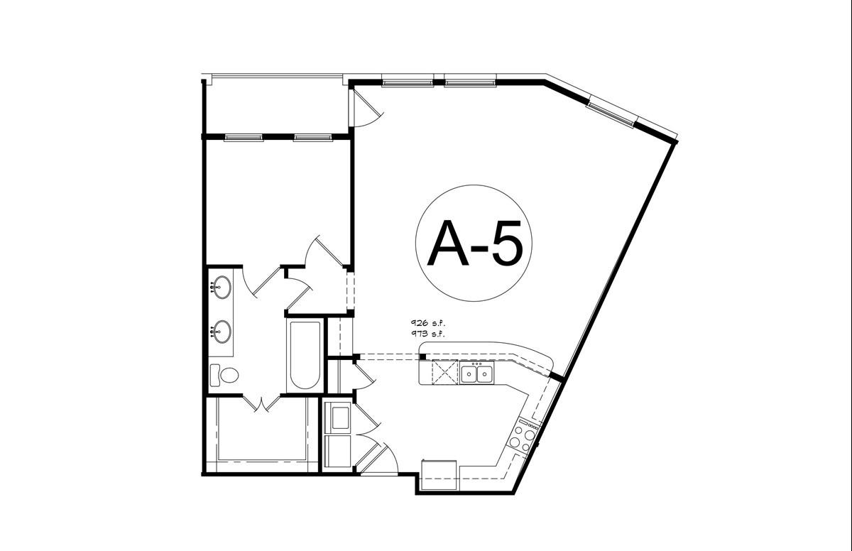973 sq. ft. A5 floor plan