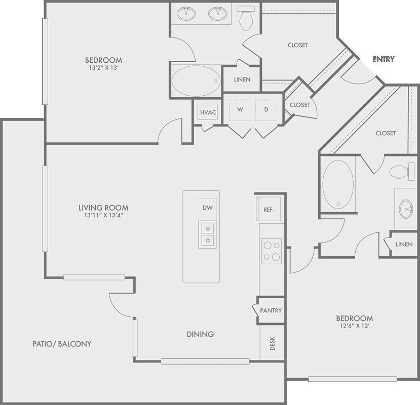 1,293 sq. ft. B6 floor plan