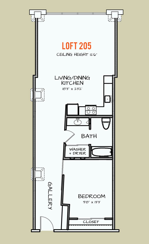 823 sq. ft. 307 floor plan