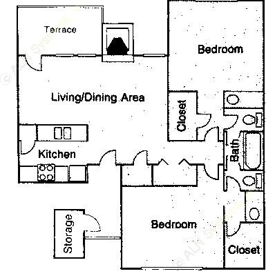 987 sq. ft. B1 floor plan