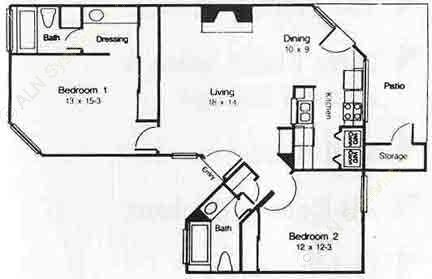 995 sq. ft. D floor plan