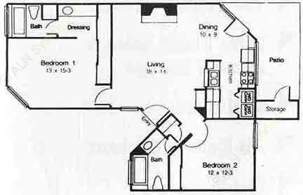 995 sq. ft. D floor plan