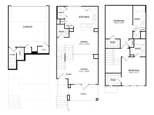 1,365 sq. ft. to 1,402 sq. ft. Tosca floor plan