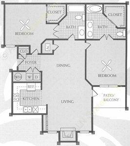 1,060 sq. ft. D floor plan