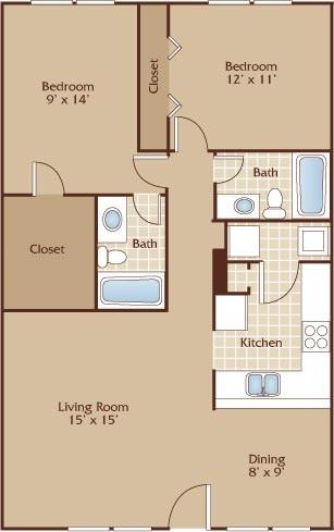 1,000 sq. ft. Driskill floor plan