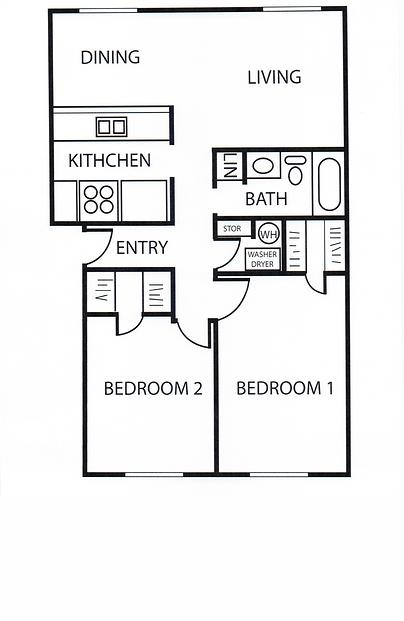 817 sq. ft. B2 floor plan