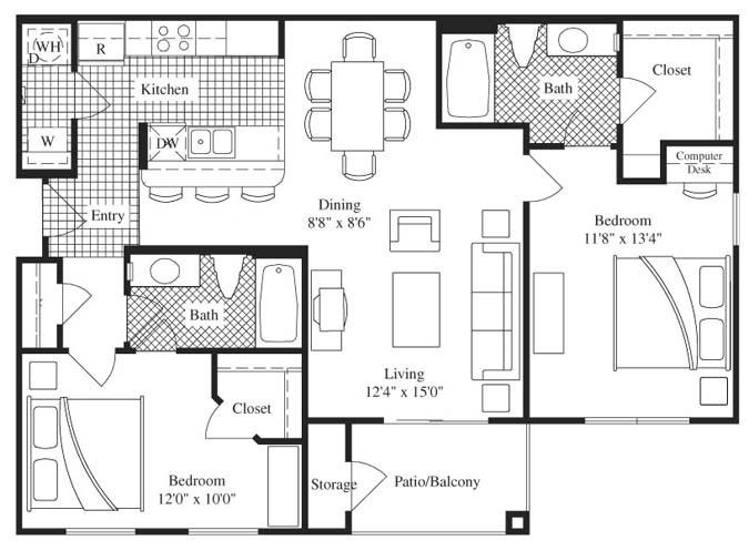 1,063 sq. ft. Saratoga floor plan