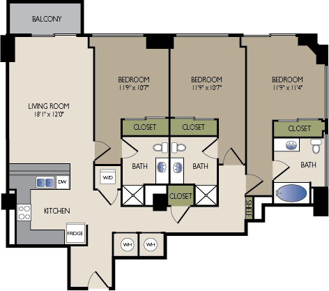 1,403 sq. ft. J floor plan
