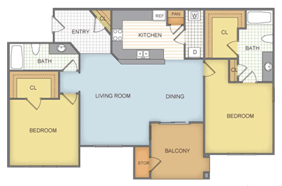 935 sq. ft. Bertram - B2 floor plan